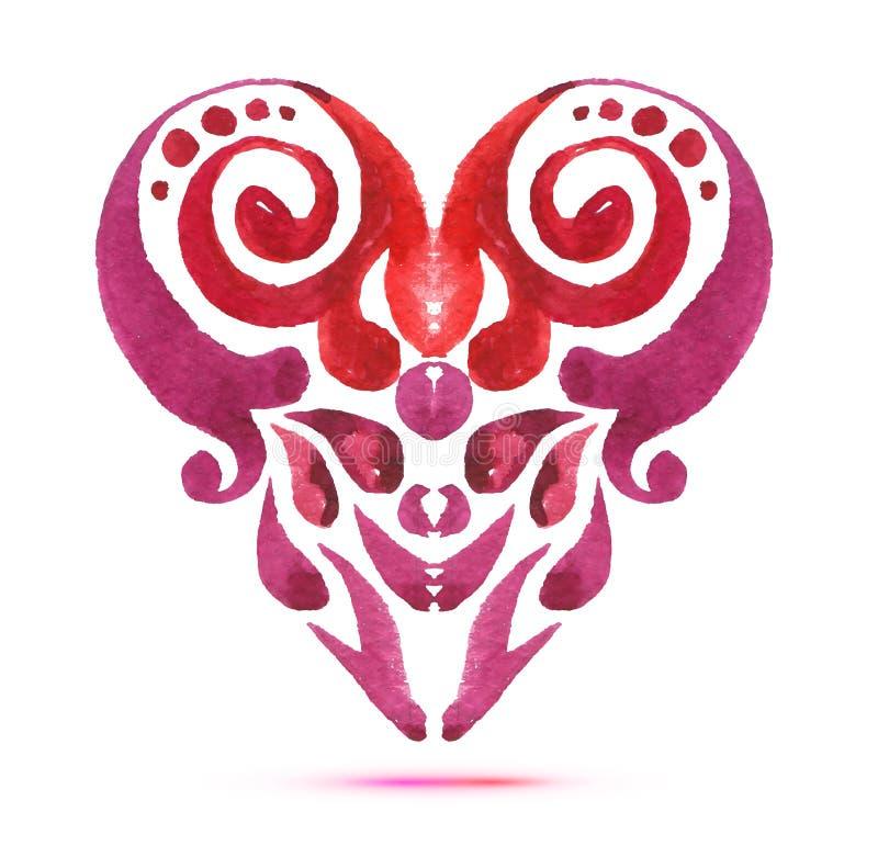 与水彩百花香的爱卡片 情人节与心脏形式的传染媒介例证 向量例证