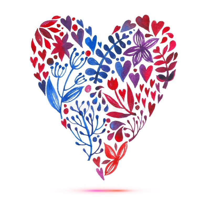 与水彩百花香的爱卡片 情人节与心脏形式的传染媒介例证 皇族释放例证
