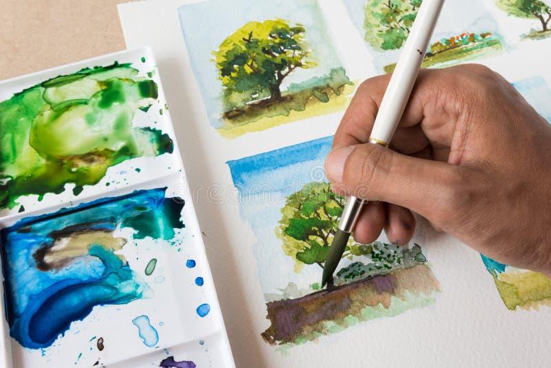 绘与水彩的树 库存照片