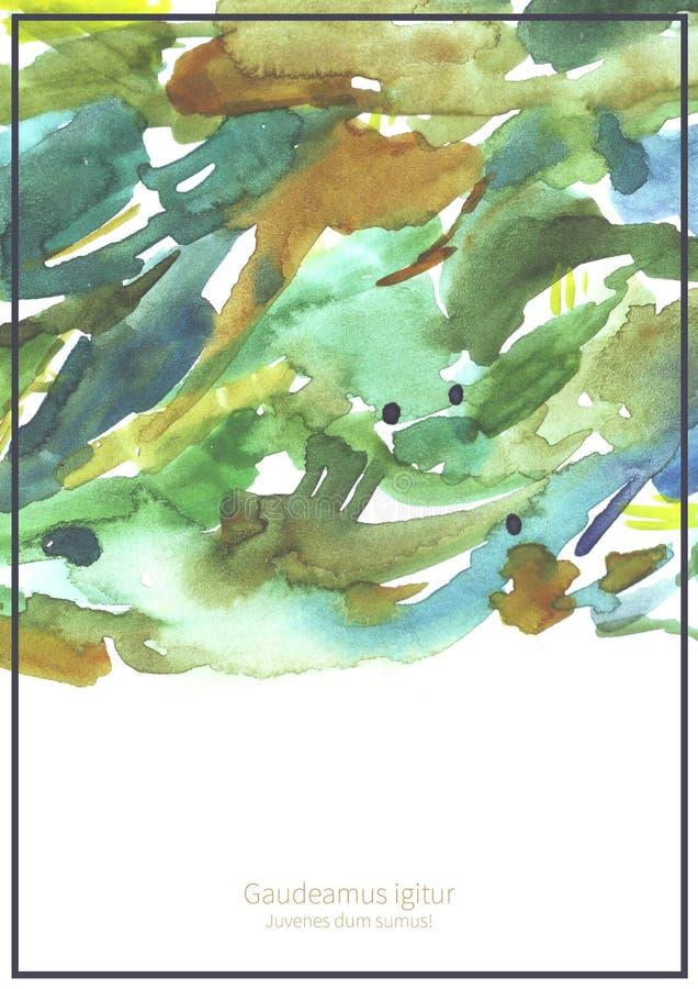 与水彩纹理的大粒状例证在与地方的白色水彩纸文本的在底部 垂直的模板f 库存例证