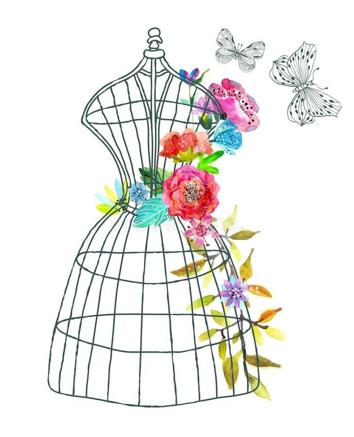 与水彩花和蝴蝶的乱画时装模特 库存例证