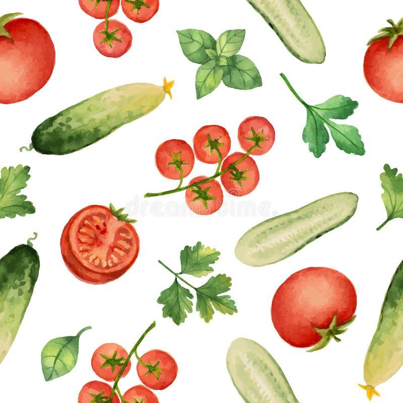 与水彩菜的无缝的样式 库存例证