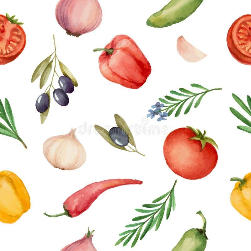 与水彩菜的无缝的样式 向量例证