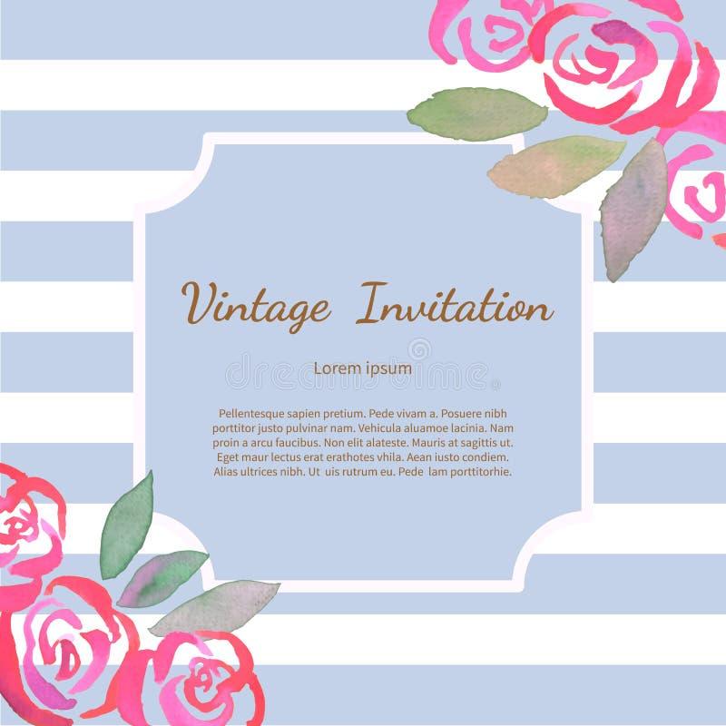 与水彩葡萄酒玫瑰的卡片 向量例证