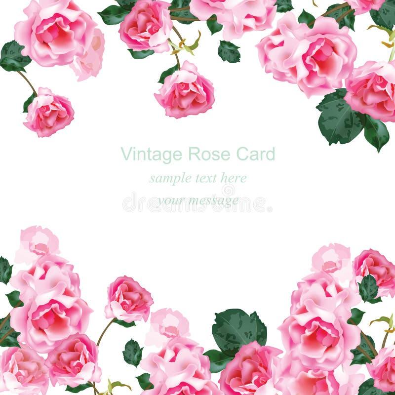 与水彩葡萄酒玫瑰花束传染媒介的邀请卡片 问候的花卉桃红色装饰,婚礼,生日和 免版税库存图片