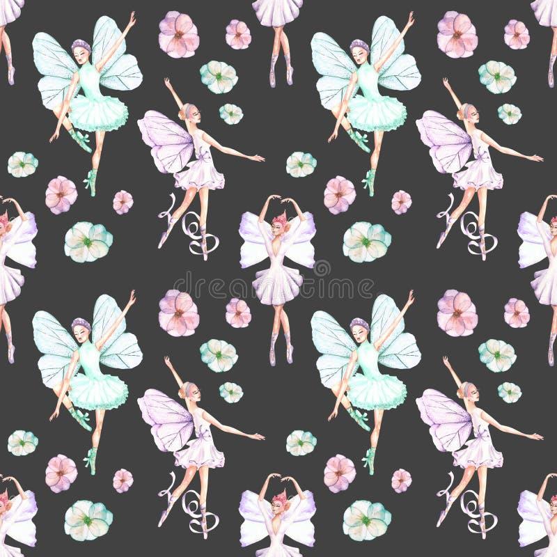 与水彩跳芭蕾舞者的无缝的样式与蝴蝶翼和花 皇族释放例证
