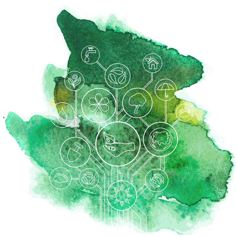 与水彩画污点的生态Infographic 向量例证