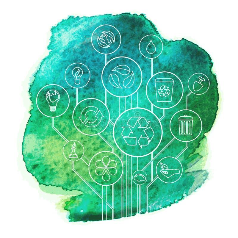 与水彩画污点的生态Infographic 库存例证