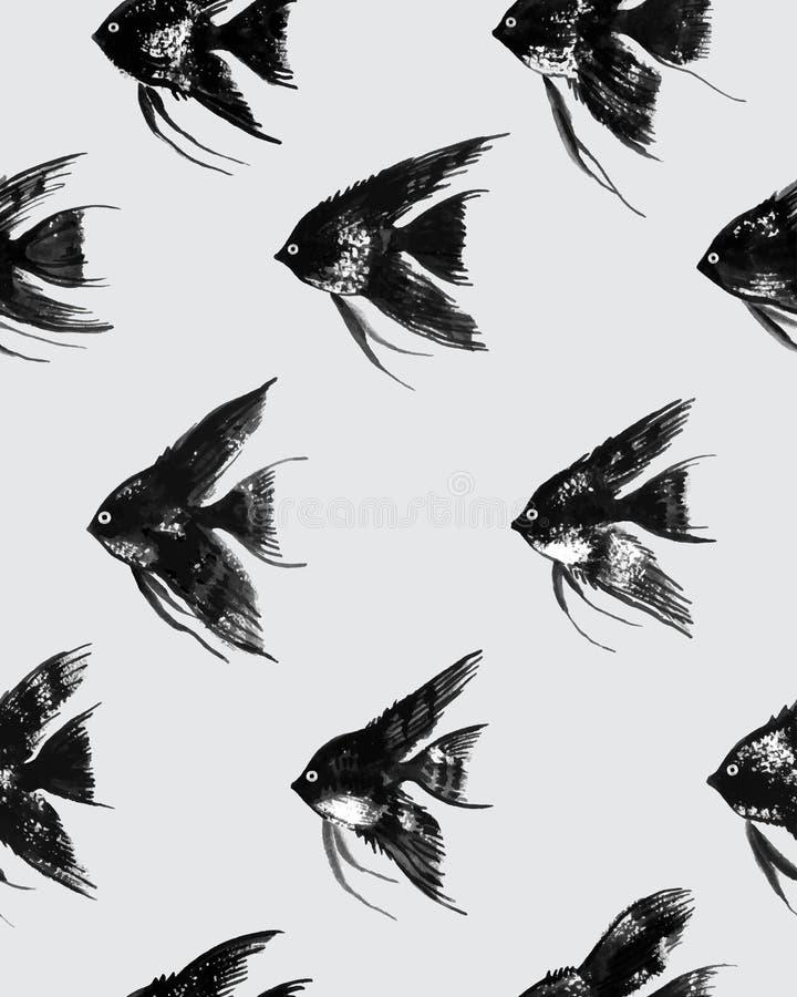 与水彩黑色神仙鱼的传染媒介无缝的样式 皇族释放例证