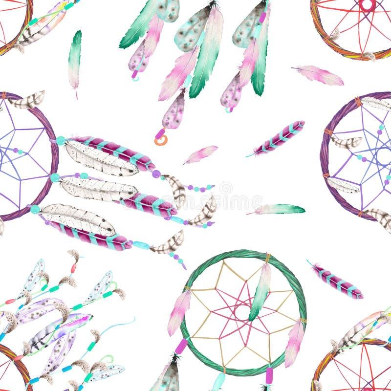 与水彩dreamcatchers和羽毛的无缝的样式在天空中,手拉在白色背景 向量例证