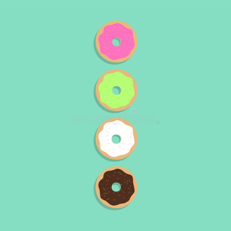 与阴影的五颜六色的油炸圈饼 库存例证