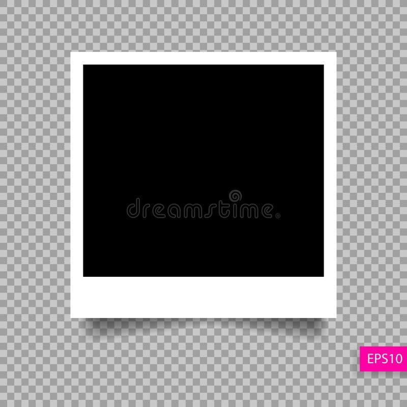 与阴影的偏正片照片框架模板 皇族释放例证