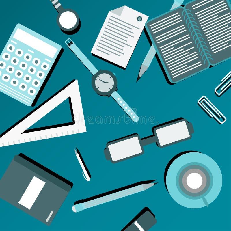 与阴影的办公用品事务您的设计的 库存例证