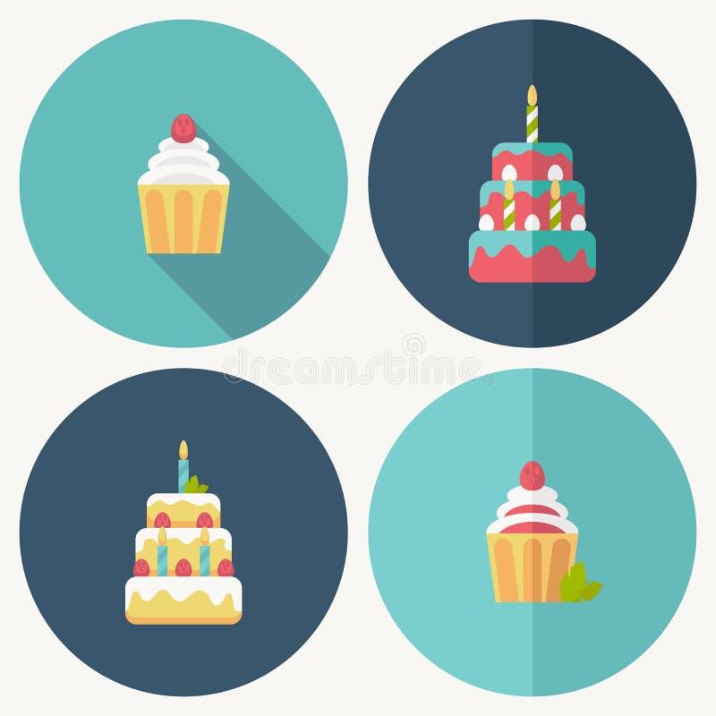 与阴影的生日蛋糕平的象 向量例证