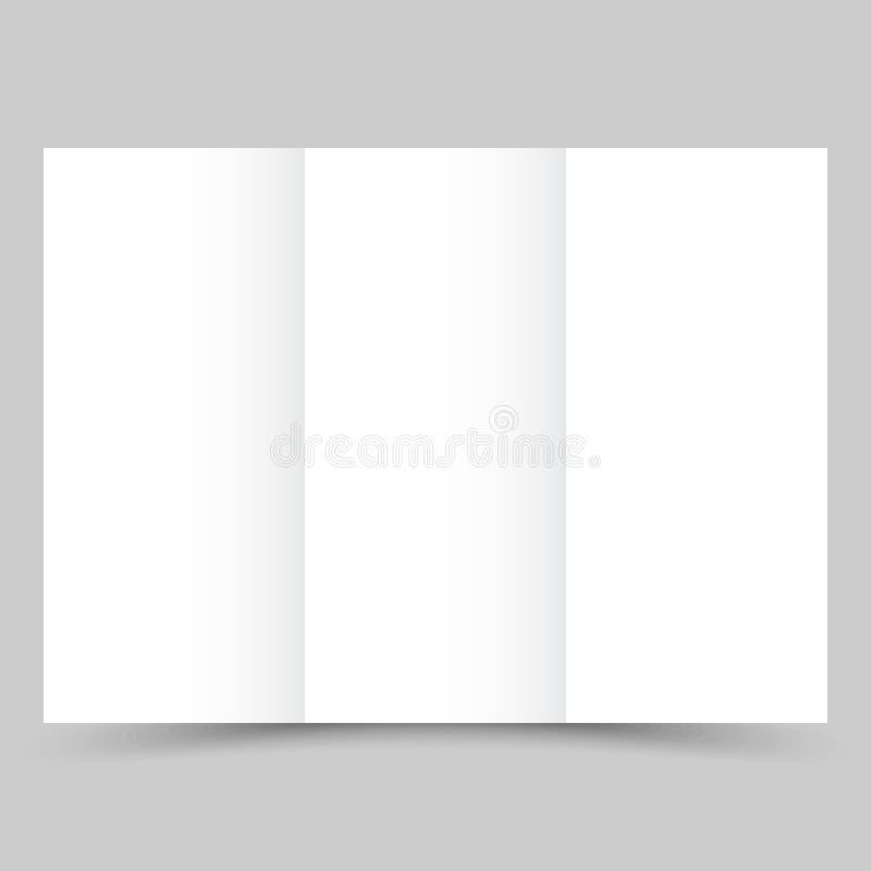与阴影的空白的白色三部合成的纸小册子 皇族释放例证