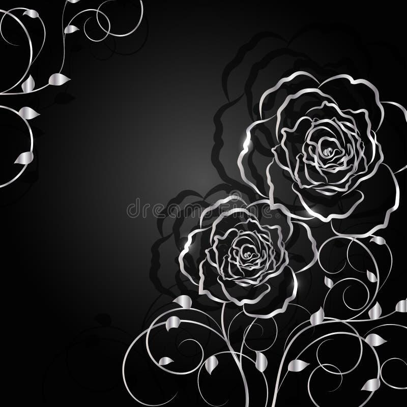 与阴影的银色花在黑暗的背景 库存例证