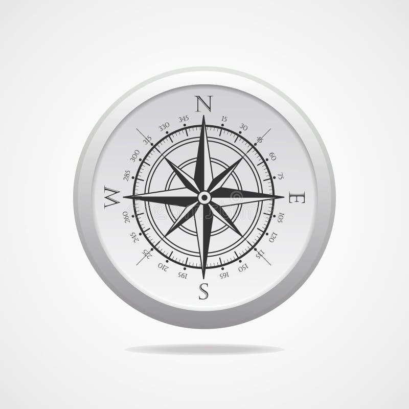 与阴影的风玫瑰色指南针传染媒介标志 向量例证