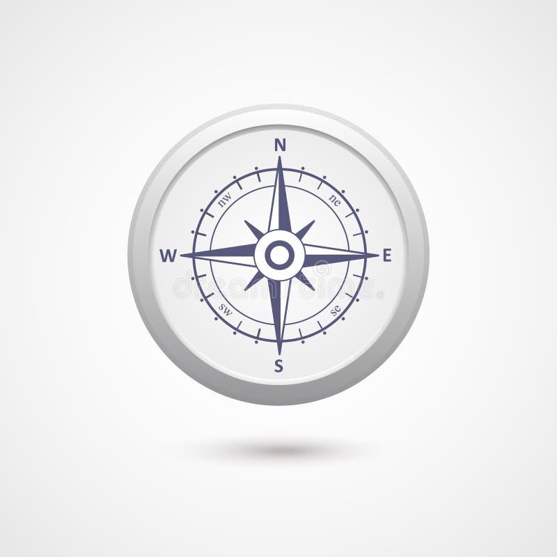 与阴影的风玫瑰色指南针传染媒介标志 皇族释放例证