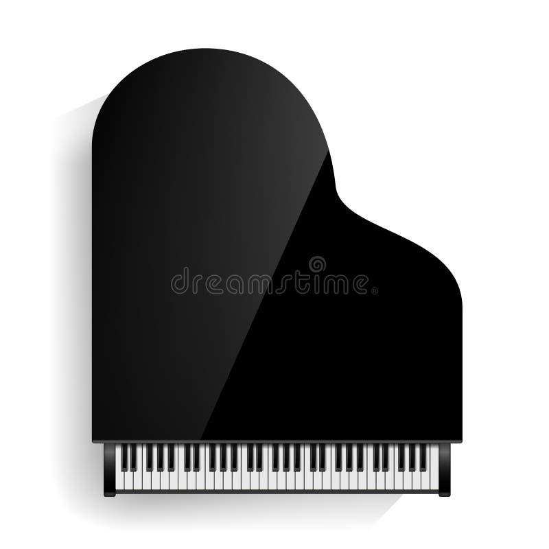 与阴影的黑大平台钢琴象传染媒介 现实键盘 按钮查出的现有量例证推进s启动妇女 库存例证