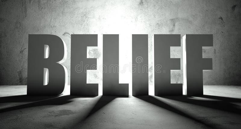 与阴影,背景的信仰词 向量例证