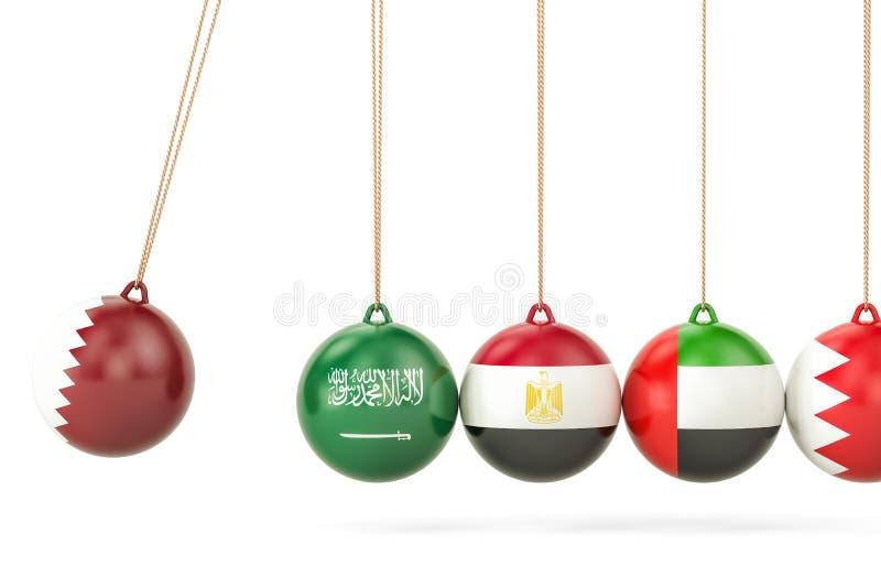 与绍德阿拉伯半岛,埃及、阿拉伯联合酋长国和Bahrai的卡塔尔政治冲突 库存例证
