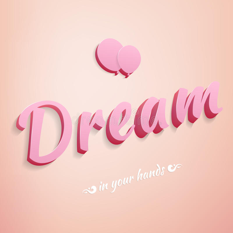 与轻快优雅的现实标志桃红色梦想 向量例证