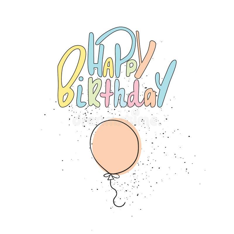 与轻快优雅的逗人喜爱的手拉的生日快乐字法 生日用手被画的贺卡 也corel凹道例证向量 向量例证