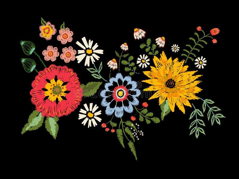 与幻想翠菊和鸦片的刺绣当地样式开花 向量例证