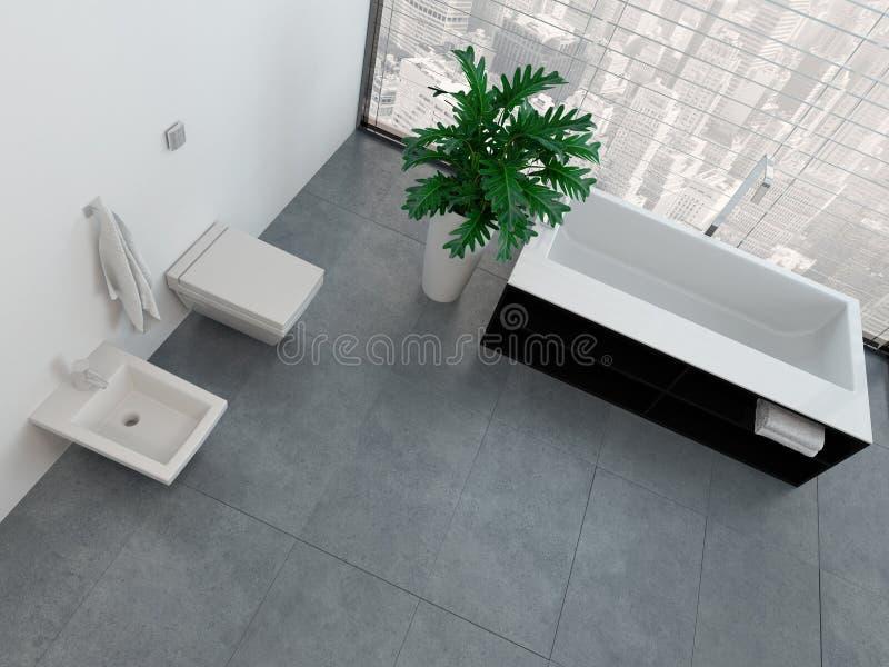 与洗手间和浴缸的现代卫生间内部 向量例证