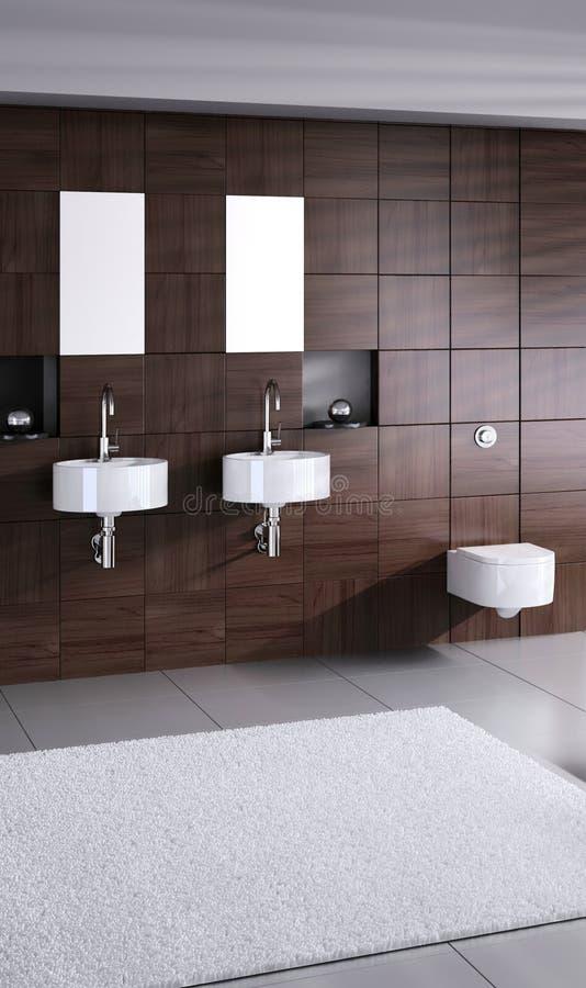 与洗手间的现代双重水池 库存图片