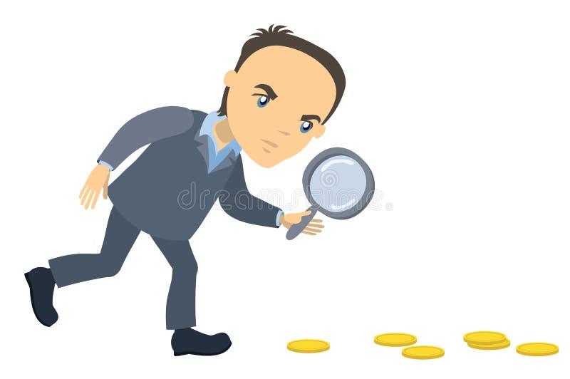 与寻找金钱的放大镜的商人 皇族释放例证