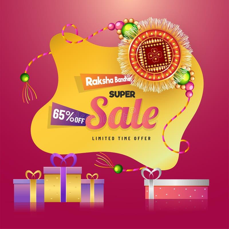 与65%折扣提议的Raksha Bandhan超级销售 向量例证