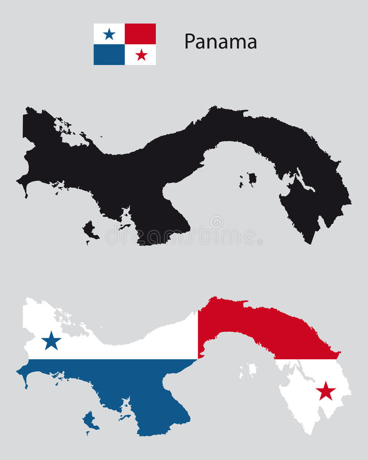 与巴拿马旗子的政治巴拿马国家地图剪影 库存例证