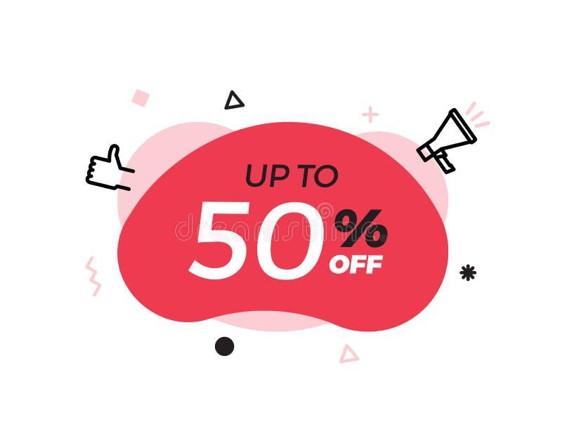 与50%提议特殊的拍卖文本的现代抽象传染媒介横幅 50%价格折扣 红色形状图形设计元素 库存例证