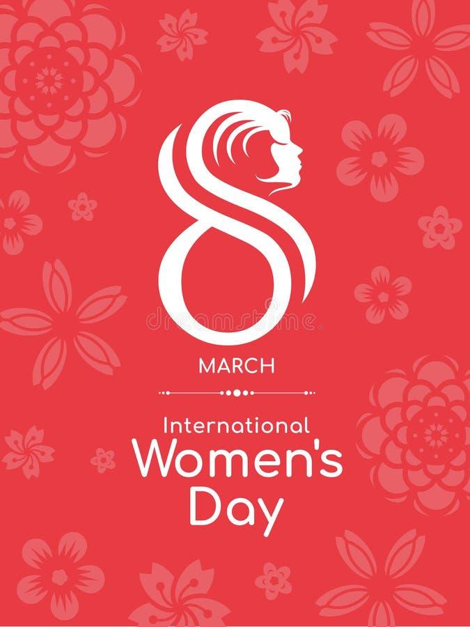 与8数字的国际妇女天和面孔在红色花开花背景传染媒介的妇女标志设计 库存例证