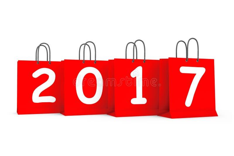 与2017新年标志的购物袋 3d翻译 向量例证