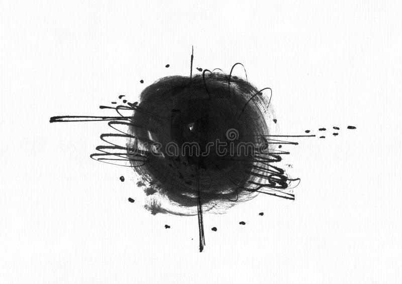 与贷方圈子的大粒状抽象例证,手拉与在水彩纸的刷子和液体墨水 画与淘气鬼 向量例证