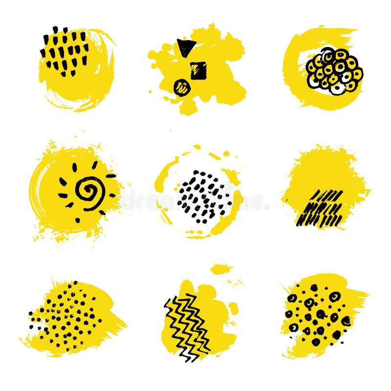与贷方手标记的黄色油漆斑点 品牌设计的抽象污点 库存例证