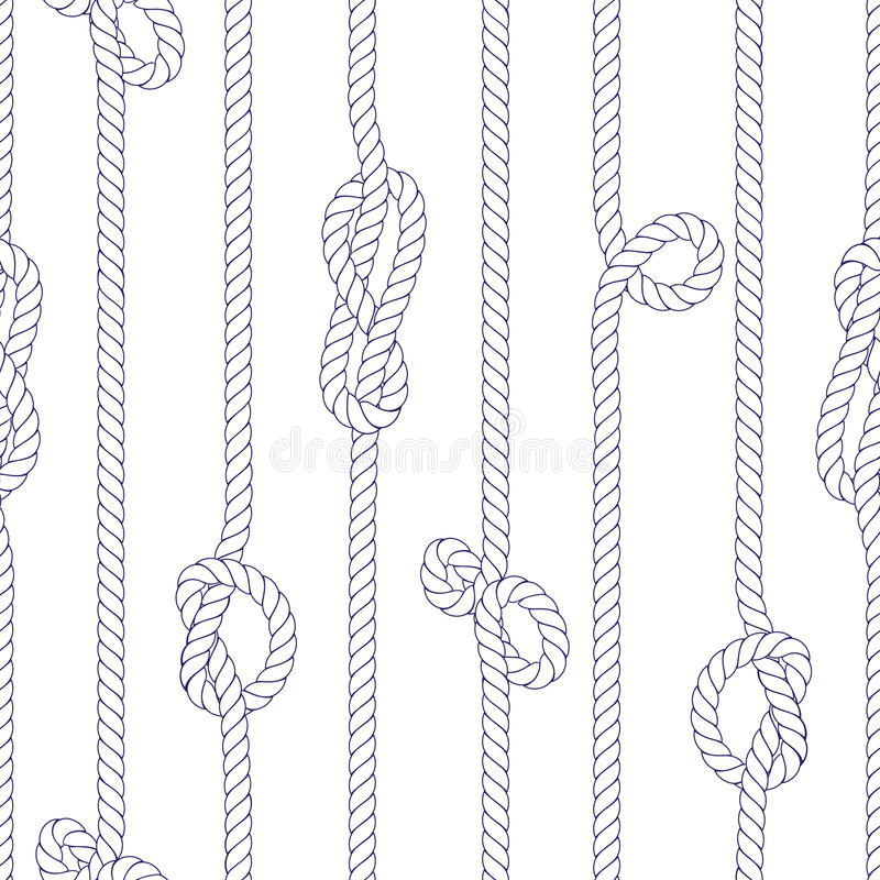 与结无缝的传染媒介印刷品的垂直的海洋绳索 皇族释放例证