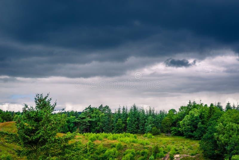 与黑暗的云彩的风景在丹麦 库存图片