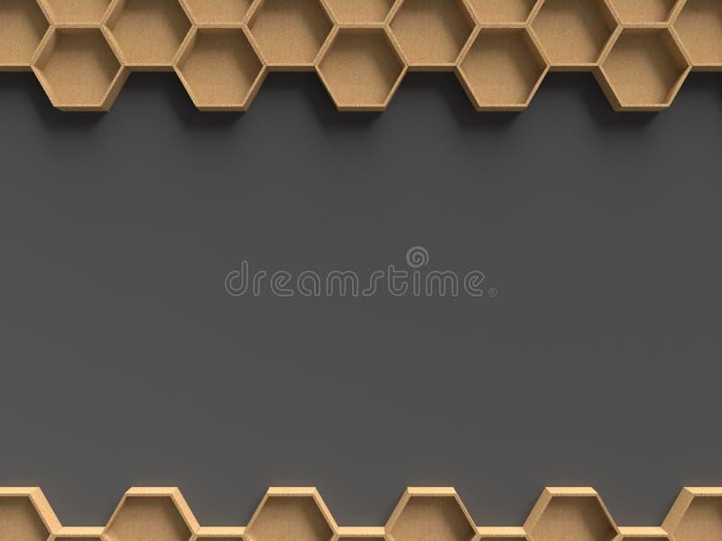与黑暗的背景模板的木六角形样式 向量例证