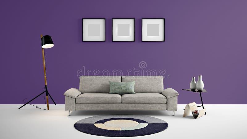 与黑暗的紫色颜色墙壁和设计师家具的高分辨率生活范围3d例证 皇族释放例证