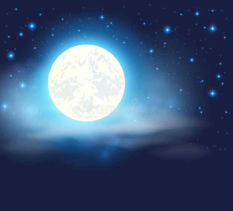 与满月的夜空 向量例证