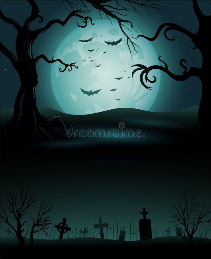 与满月的蠕动的树万圣夜背景 皇族释放例证