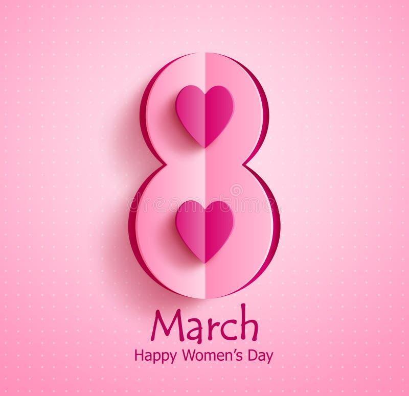与3月8日文本和纸的愉快的妇女` s天传染媒介横幅设计削减了心脏 库存例证