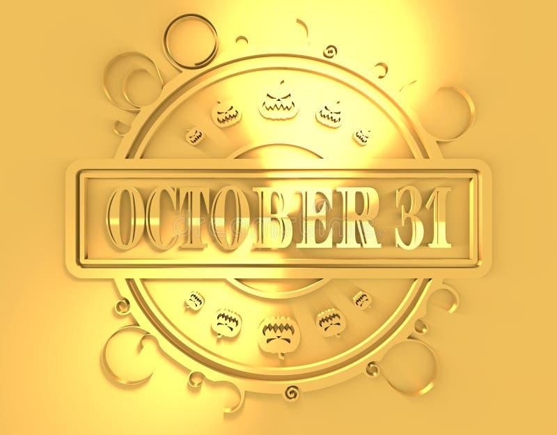 与10月31日文本的被刻记的邮票 皇族释放例证