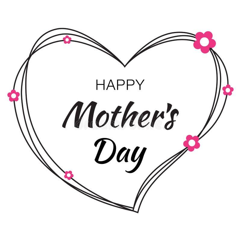 与黑杂文心脏的愉快的母亲节手拉的印刷字法在白色背景 库存例证