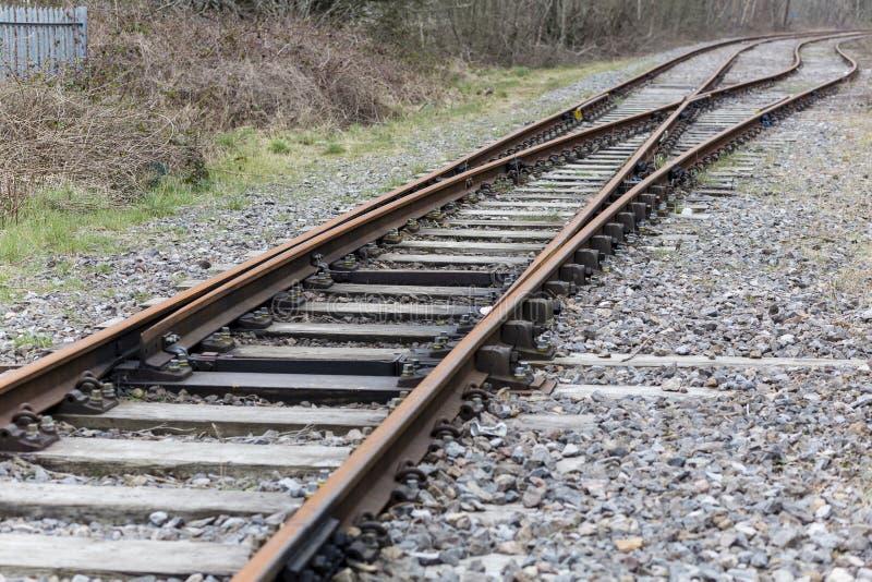 废弃的英国铁路轨道 库存图片