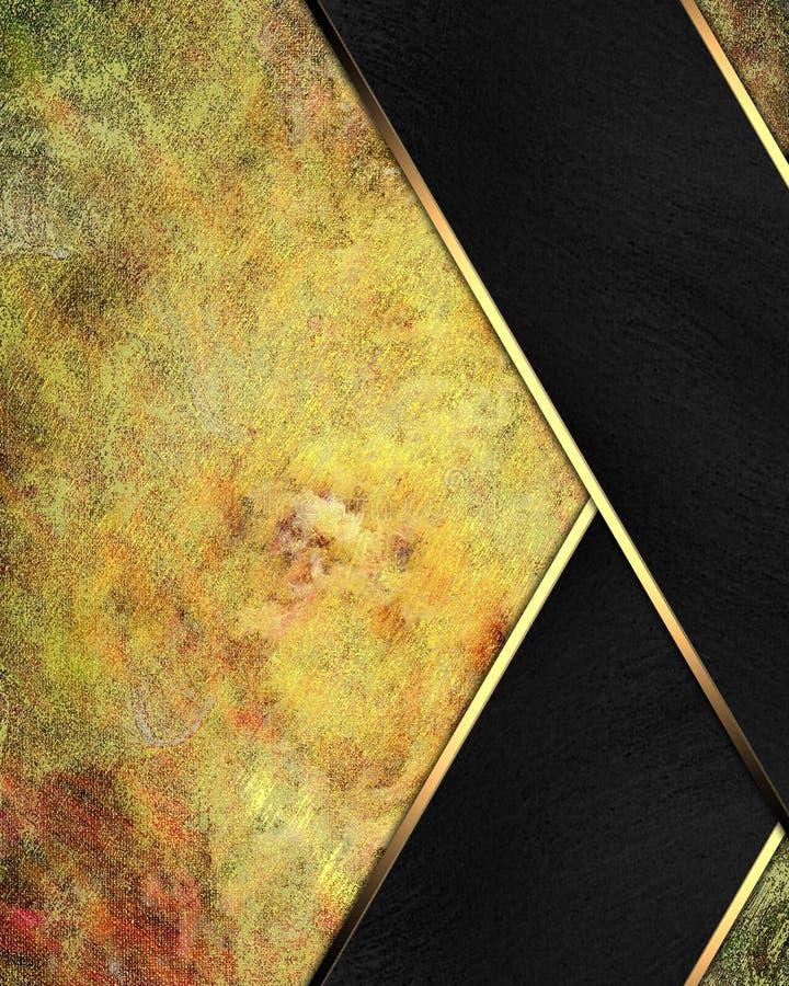 与黑条纹的难看的东西黄色背景 设计的模板 复制广告小册子或公告邀请的空间,抽象 库存例证