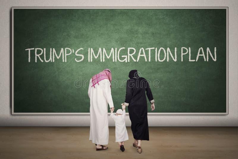 与黑板的阿拉伯家庭在教室 库存照片